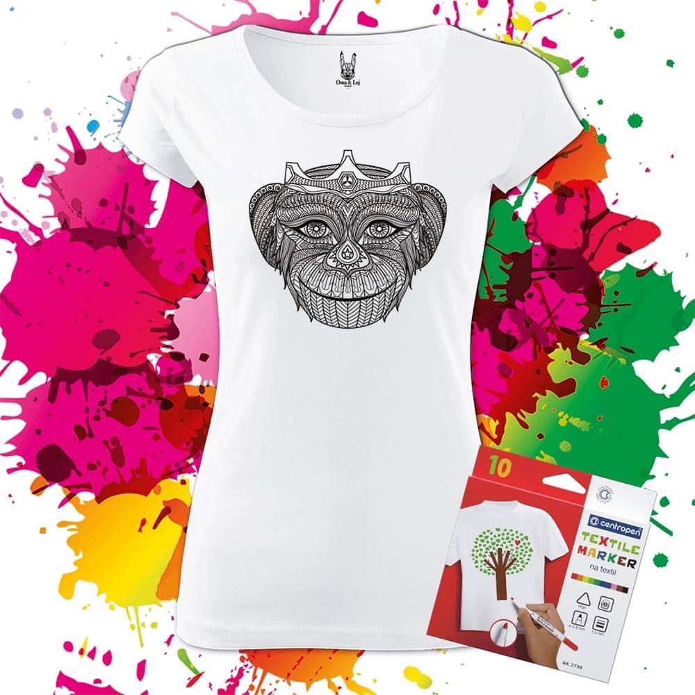 Dámske tričko kráľovná opíc - Omaľovánka na tričku - Oma & Luj - Omaluj.sk