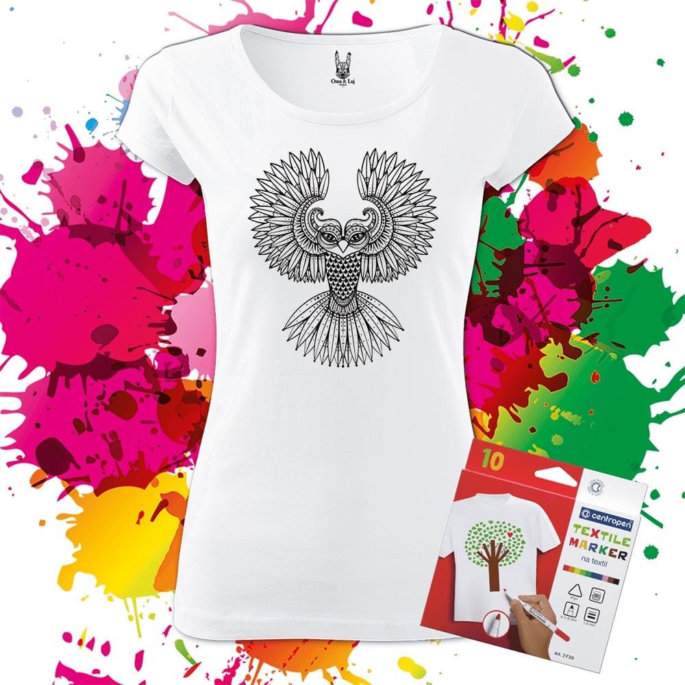 Dámske tričko Sova - Omaľovánka na tričku - Oma & Luj - Omaluj.sk