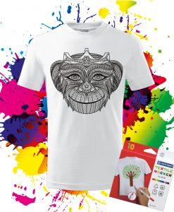 Detské tričko Kráľovná opíc - Omaľovánka na Tričku - Oma & Luj