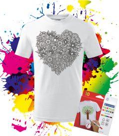 Detské Tričko Srdce z Kvetov - Omaľovánka_na_tričku Oma & Luj