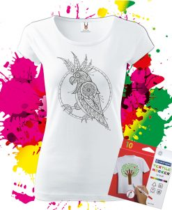 Dámske Tričko Kakadu - Omaľovánka na tričku - Oma & Luj