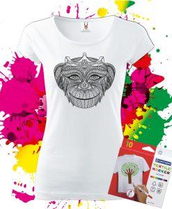 Dámske Tričko kráľovná opíc - Omaľovánka na tričku - Oma & Luj