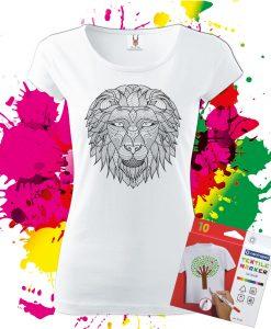Dámske tričko Lev - Omaľovánka na tričku - Oma & Luj