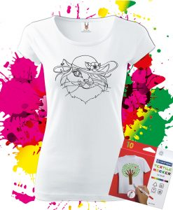 Dámske Tričko Mačička - Omaľovánka na tričku - Oma & Luj
