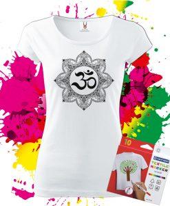 Dámske Tričko Mandala Ohm - Omaľovánka na tričku - Oma & Luj