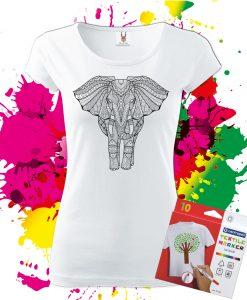 Dámske Tričko Slon - Omaľovánka na tričku - Oma & Luj