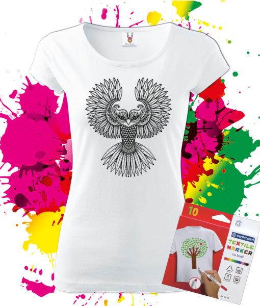 Dámske Tričko Sova - Omaľovánka na tričku - Oma & Luj