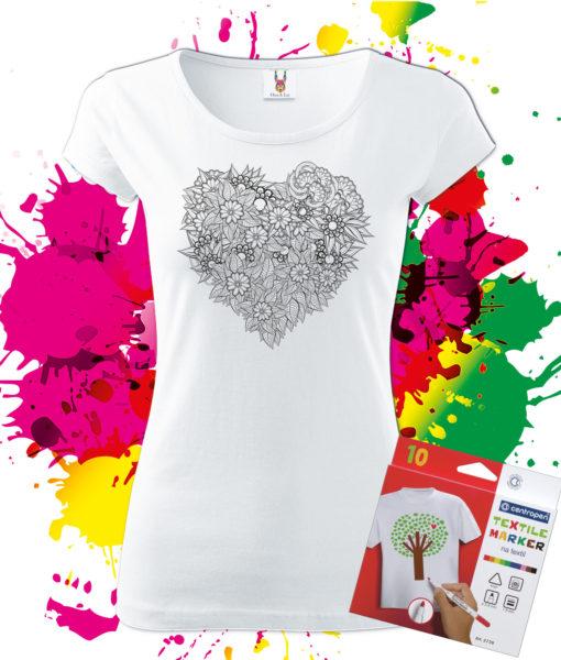 Dámske Tričko Srdce z kvetov - Omaľovánka na tričku - Oma & Luj