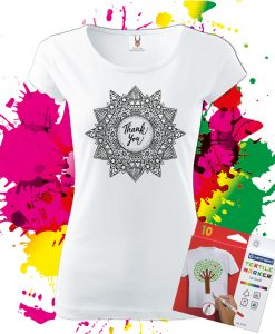 Dámske Tričko Mandala vďačnosti - Omaľovánka na tričku - Oma & Luj