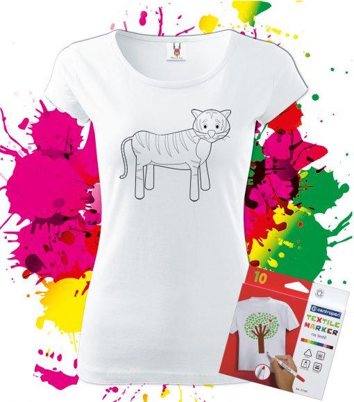 Dámske Tričko Tigrík - Omaľovánka na tričku - Oma & Luj