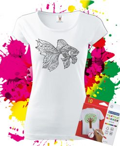 Dámske Tričko Zlatá rybka - Omaľovánka na tričku - Oma & Luj