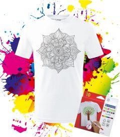 Detské tričko Mandala života - Omaľovánka na Tričku - Oma & Luj