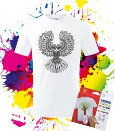 Detské Tričko Sova - Omaľovánka na tričku - Oma & Luj