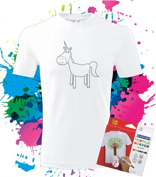 Pánske Tričko Jednorožec - Omaľovánka na tričku - Oma & Luj