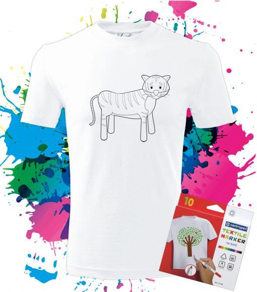 Pánske Tričko Tigrík- Omaľovánka na tričku - Oma & Luj
