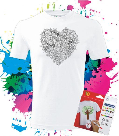 Pánske Tričko Srdce z kvetov - Omaľovánka na tričku - Oma & Luj