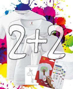 Omaľovánky na tričkách Rodinné balenie 2+1 Oma & Luj
