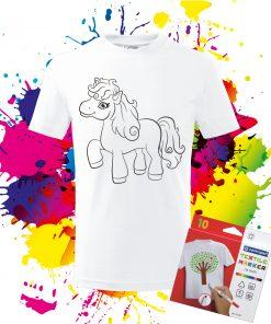 Detské tričko Poník - Omaľovánka Poník na tričku - Oma & Luj