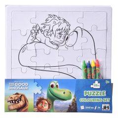 Puzzle omaľovánka Dobrý dinosaurus