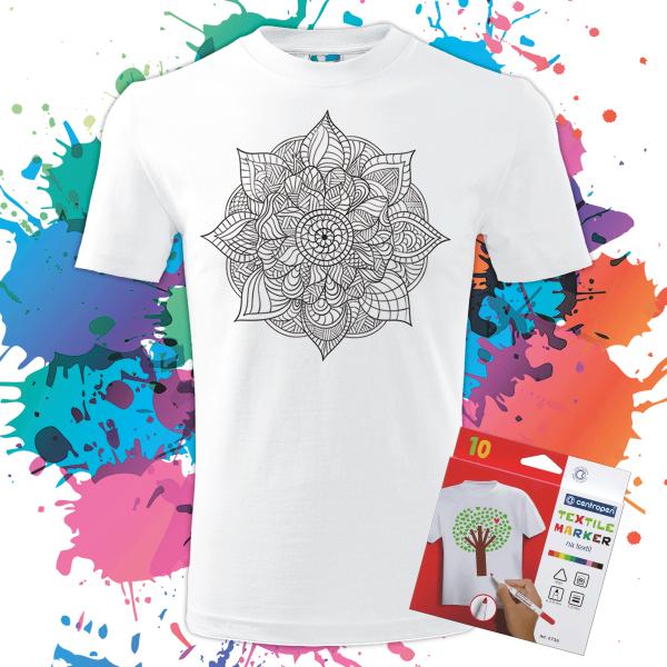 Pánske Tričko Mandala života - Omaľovánka na tričku - Oma & Luj