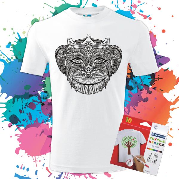 Pánske Tričko Kráľovná opíc - Omaľovánka na tričku - Oma & Luj