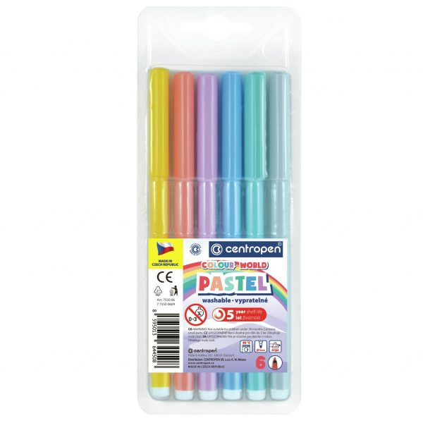 Fixky Centropen 7550 pastelové vyprateľné 6ksbal - Oma & Luj