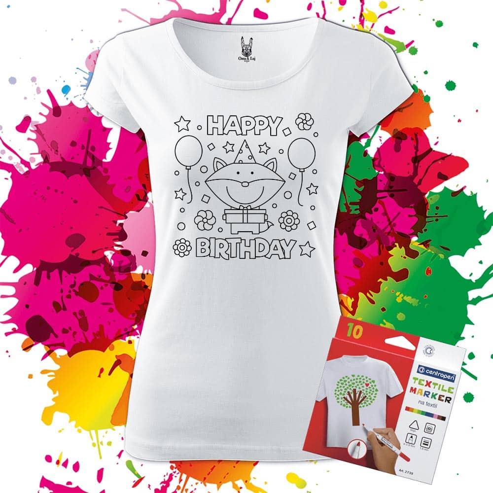 Dámske tričko Happy Birthday - Omaľovánka na tričku - Oma & Luj