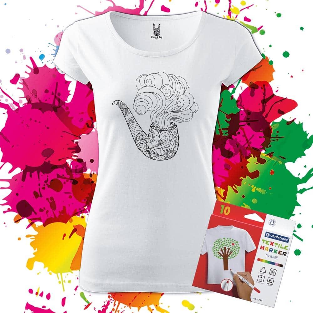 Dámske tričko Fajka - Omaľovánka na tričku - Oma & Luj