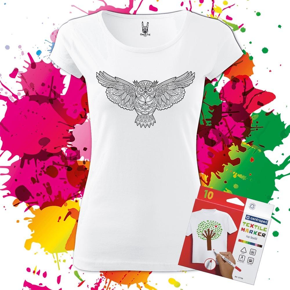 Dámske tričko Sova 2 - Omaľovánka na tričku - Oma & Luj
