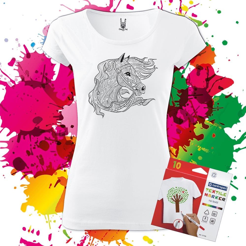 Dámske tričko Kôň - Koník - Omaľovánka na tričku - Oma & Luj