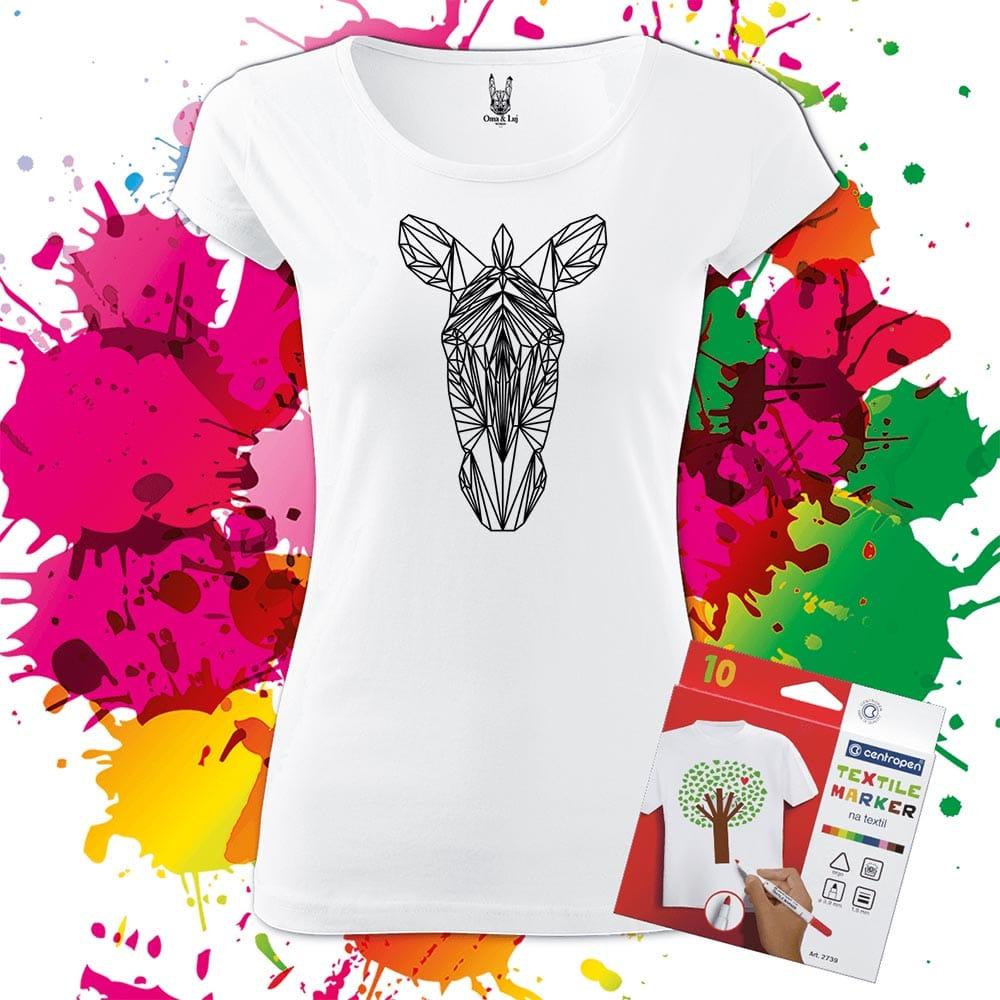 Dámske tričko Zebra Geometric- Omaľovánka na tričku - Oma & Luj