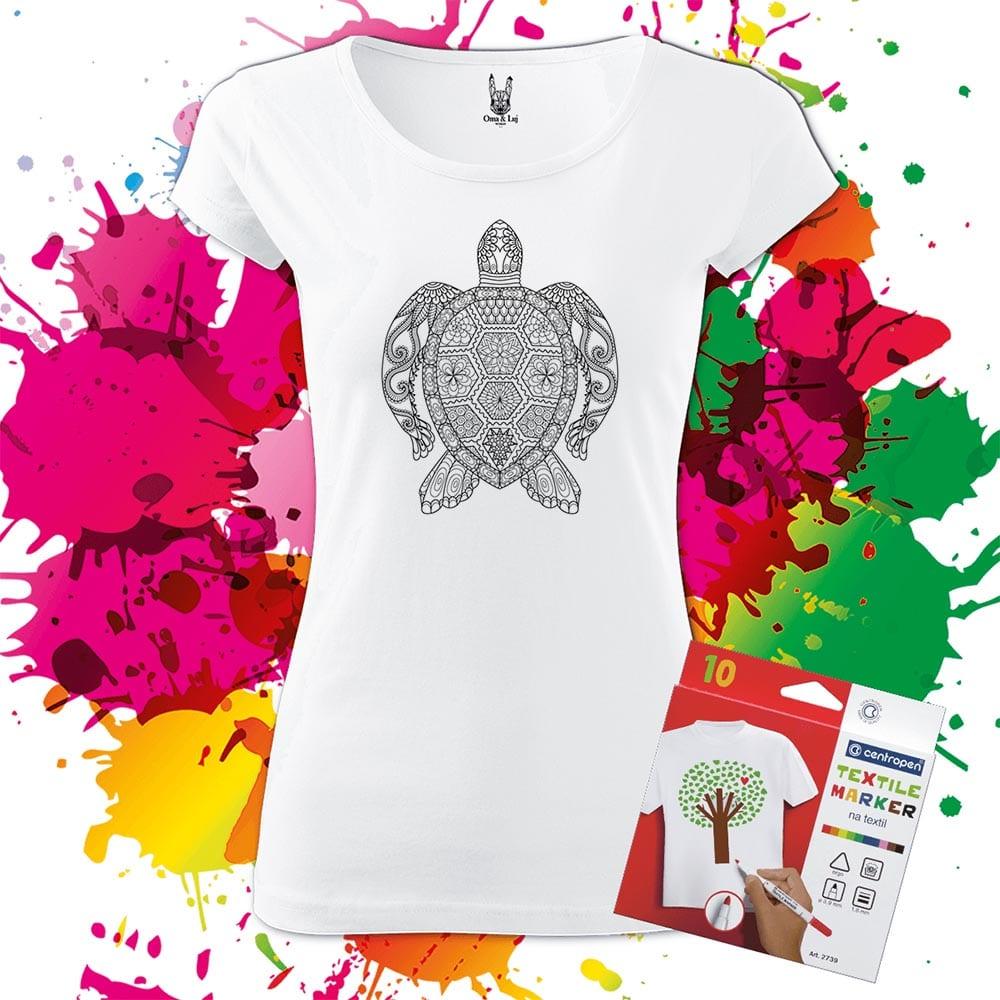 Dámske tričko Korytnačka - Omaľovánka na tričku - Oma & Luj