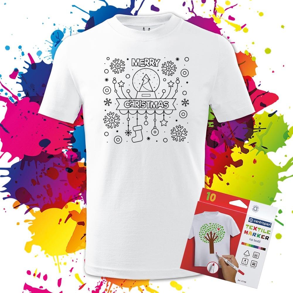 Detské tričko Veselé vianoce Merry Christmas Snehová guľa - Omaľovánka na tričku - Oma & Luj