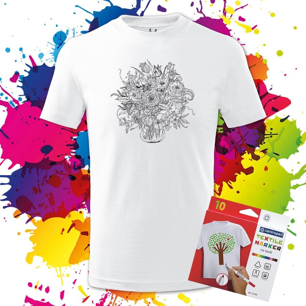 Detské tričko Kytica- Omaľovánka na tričku - Oma & Luj