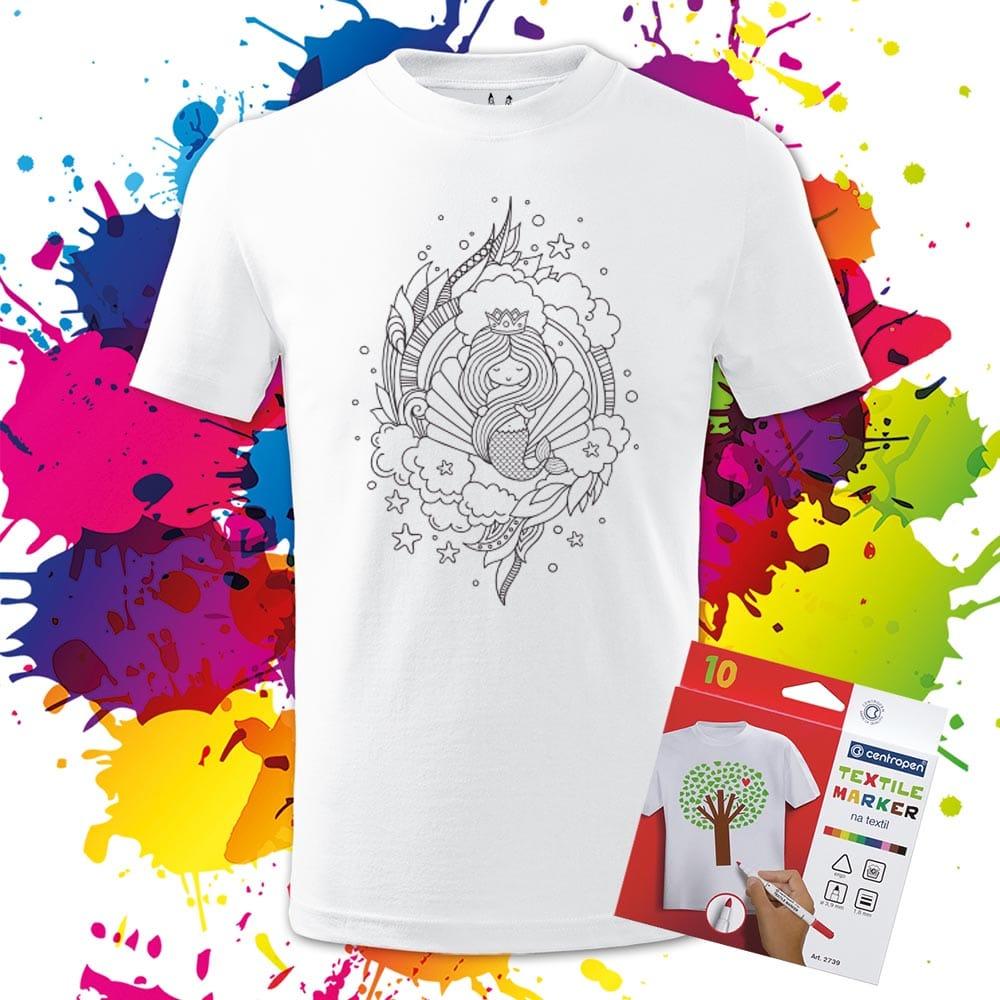 Detské tričko Fantasy Morská panna - Omaľovánka na tričku - Oma & Luj