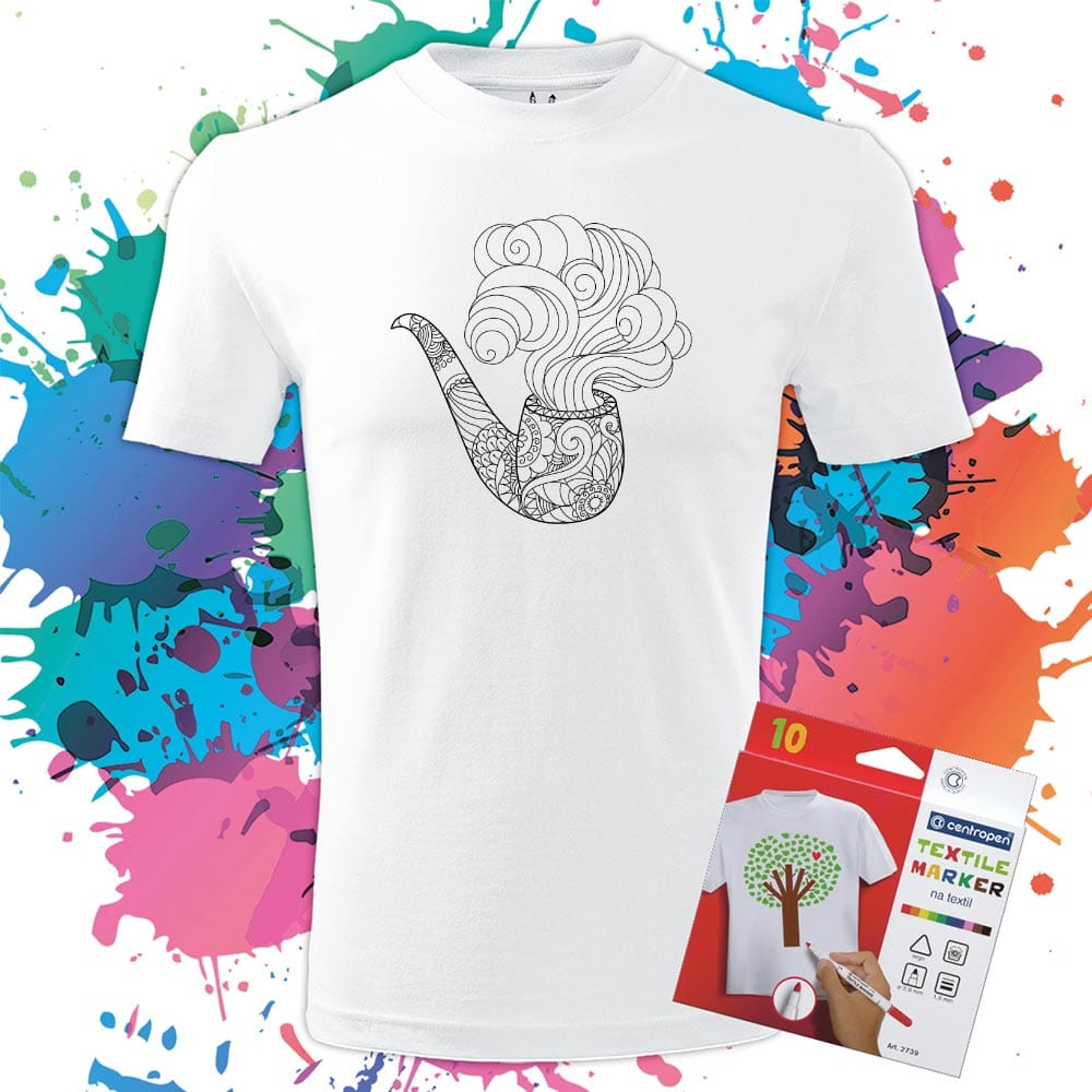 Pánske tričko Fajka - Omaľovánka na tričku - Oma & Luj