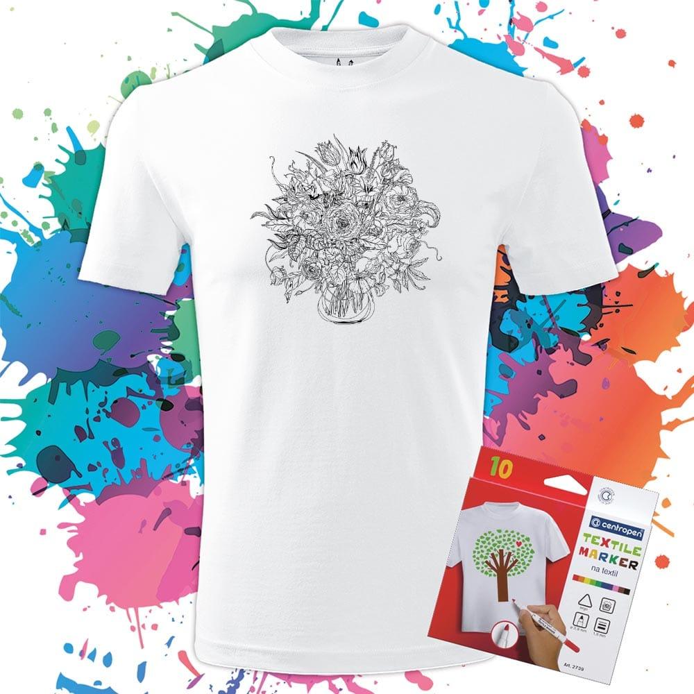 Pánske tričko Kytica- Omaľovánka na tričku - Oma & Luj