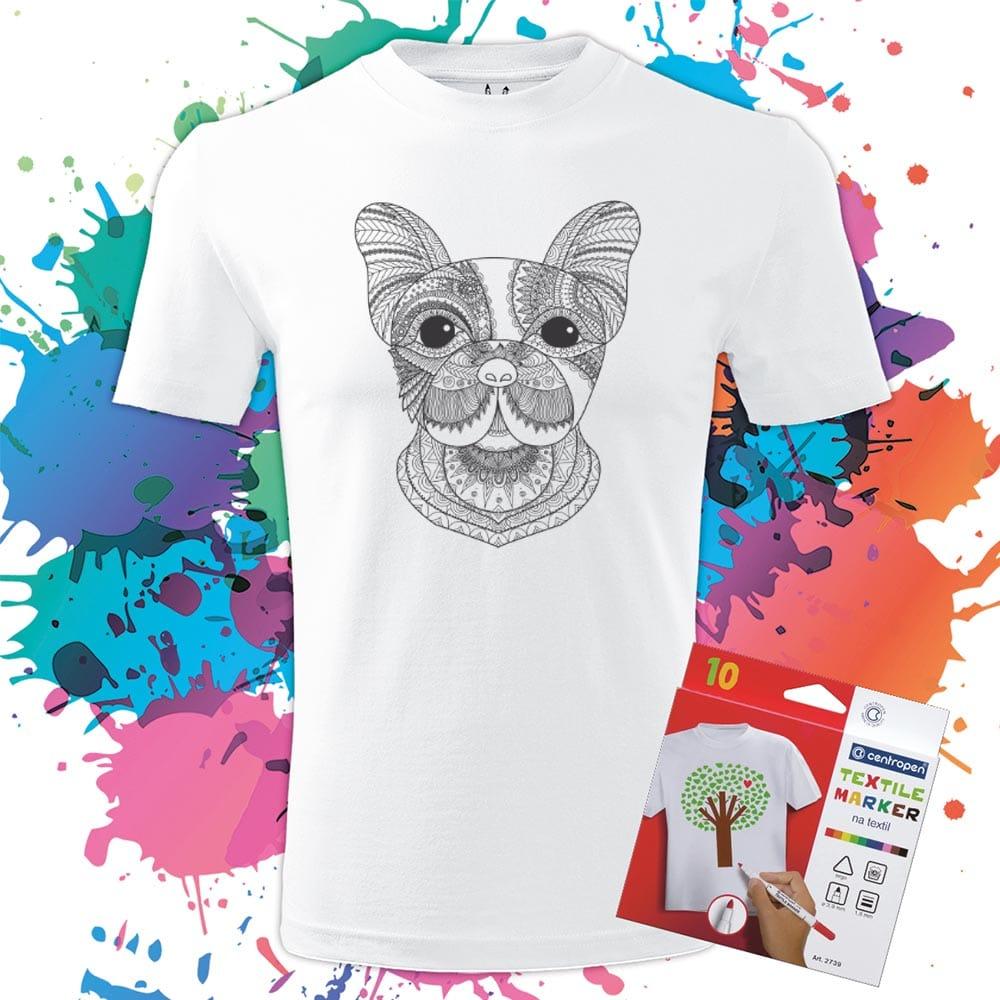 Pánske tričko Milý Francúzsky Buldoček - Omaľovánka na tričku - Oma & Luj