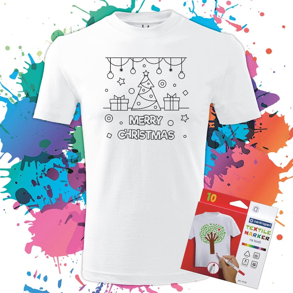 Pánske tričko Merry Christmas stromček - Omaľovánka na tričku - Oma & Luj