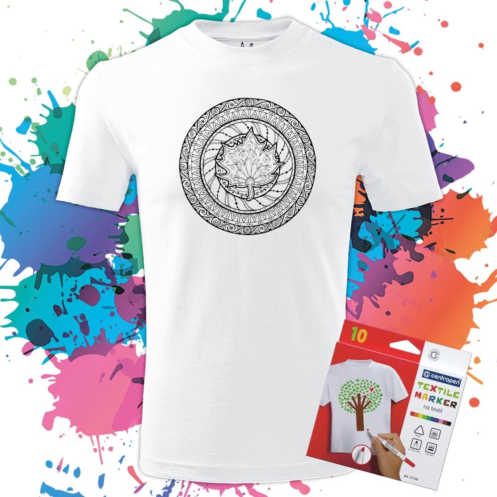 Pánske tričko Mandala - List jesene - Omaľovánka - Oma & Luj