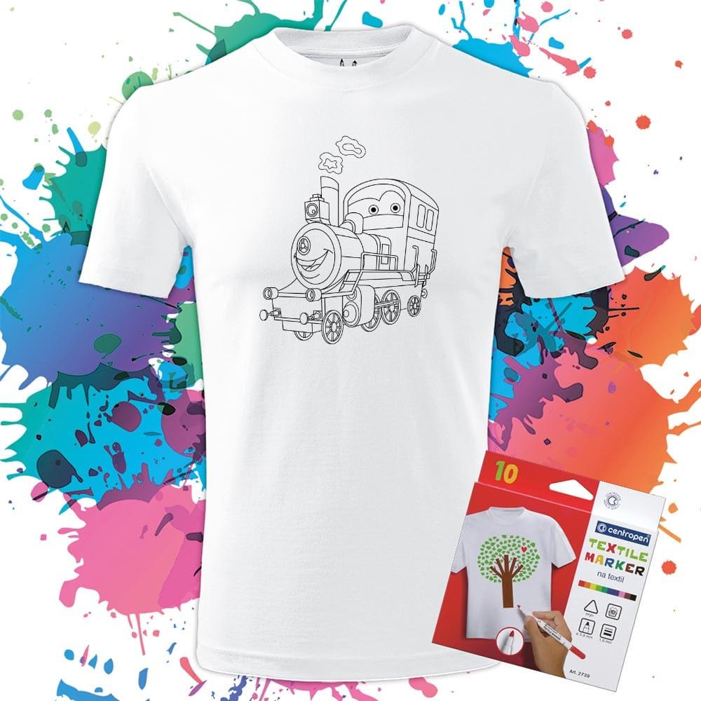 Pánske tričko Vláčik - Omaľovánka na tričku - Oma & Luj
