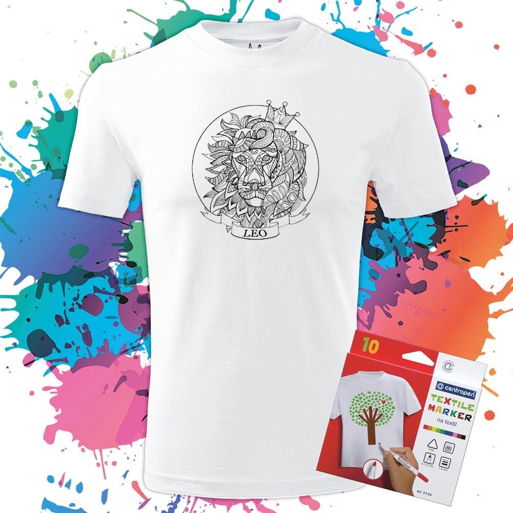Pánske tričko Lev - Znamenia - Omaľovánka na tričku - Oma & Luj