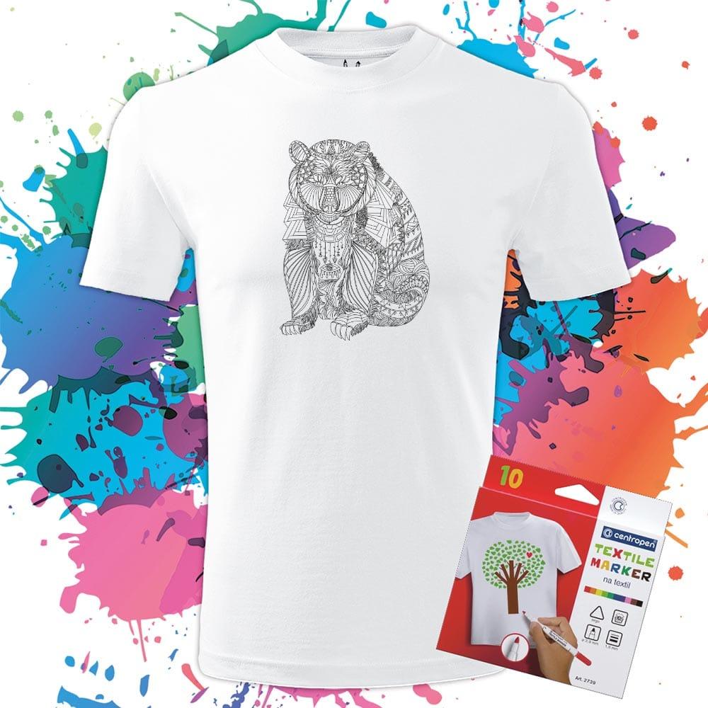 Pánske tričko Medved - Maco - Omaľovánka na tričku - Oma & Luj