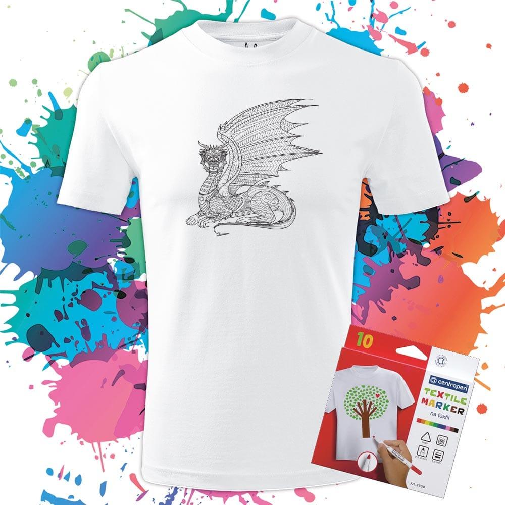 Pánske tričko Drak-Dragon profil - Omaľovánka na tričku - Oma & Luj