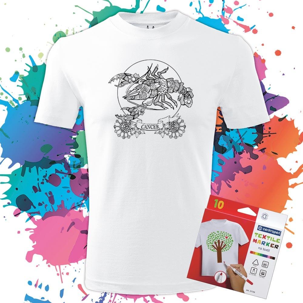 Pánske tričko Znamenie Rak - Omaľovánka na tričku - Oma & Luj
