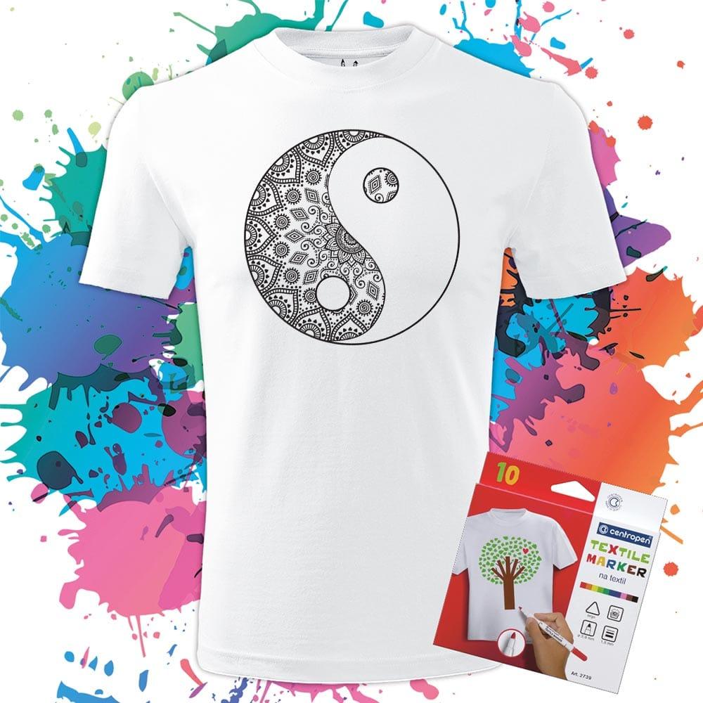 Pánske tričko Jing a Jang - Omaľovánka na tričku - Oma & Luj