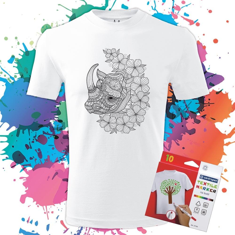 Pánske tričko Nosorožec - Omaľovánka na tričku - Oma & Luj
