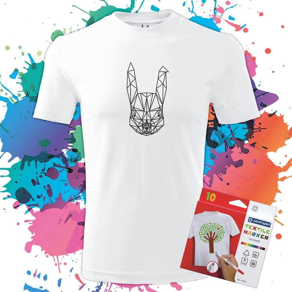 Pánske Tričko Zajac - Omaľovánka na tričku - Oma & Luj